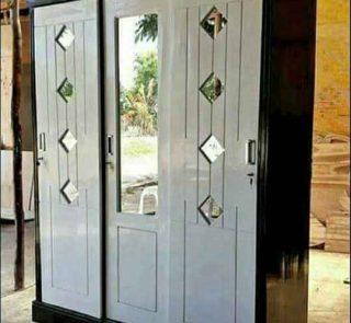 Almari Pakaian Pintu 3 Sliding Black & White Minimalis Modern HMJ-LPKN 09