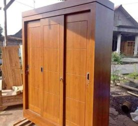 Almari Pakaian Pintu 3 Sliding Natural Kayu Jati Minimalis HMJ-LPKN 07