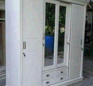 Almari Pakaian Pintu 4 Sliding White Duco Minimalis Modern HMJ-LPKN 08